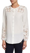 Veronica Beard Alma Long-Sleeve Embroidered Silk Blouse, Off White