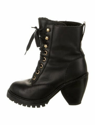 Marc Jacobs Leather Printed Combat Boots Black