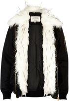 River Island Womens Black faux fur front jacket