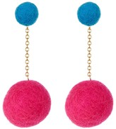 Yochi Drop Pom Pom Earrings
