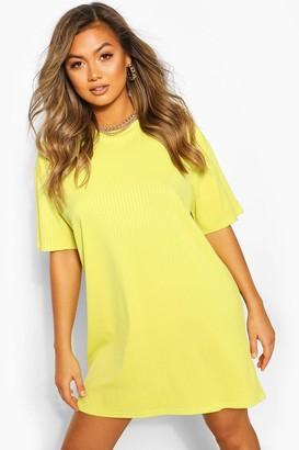 boohoo Jumbo Rib Oversized T-shirt Dress