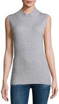 Sweet Romeo Sleeveless Mock-Neck Ribbed Sweater, Heather Gray