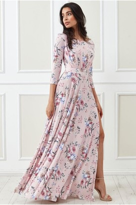 Goddiva Floralprint Wrap Back Maxi with Front Slit - Blushfloral