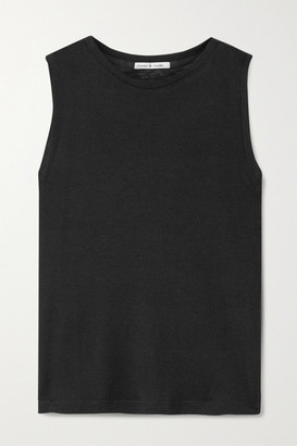 FRANCES DE LOURDES Brando Slub Cashmere And Silk-blend Tank - Black