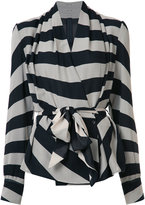 Gareth Pugh striped belted blazer - women - Silk/Spandex/Elastane - 44