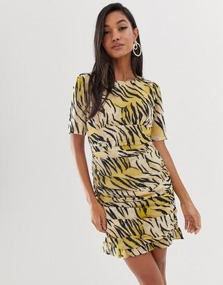 Asos Design DESIGN ruched side mini dress in natural tiger print-Multi