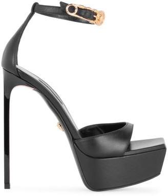 Versace Embellished Leather Platform Sandals