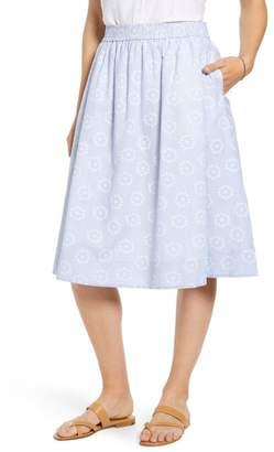 1901 Stripe Eyelet Full Skirt (Regular & Petite)