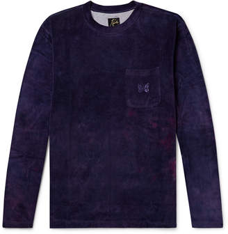 Needles Logo-Embroidered Tie-Dyed Cotton-Blend Velour T-Shirt