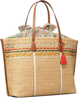 Tory Burch Perry Straw Oversized Tote Bag