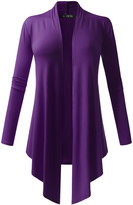 All Yours Women's Cardigans Purple - Purple Drape-Front Open Cardigan - Women