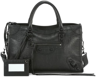 Balenciaga Mini City Snakeskin-Embossed Leather Satchel