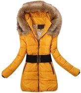 SODIAL(R) 2014 Women's padded winter warm fur collar jackets coat jacket S M L XL XXL