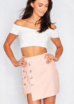 Missy Empire Duffy Pink Faux Leather Eyelet Lace Up Skirt
