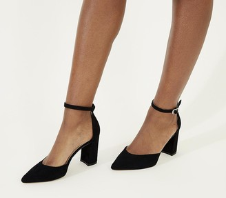 Office Minnie Ankle Strap Court Heels Black Suede