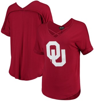 Unbranded Women's Crimson Oklahoma Sooners Goal Getter Cross Neck T-Shirt