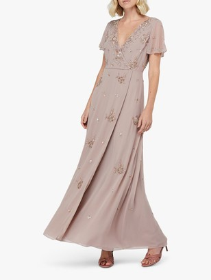 Monsoon Winifred Embellished Wrap Maxi Dress, Mink