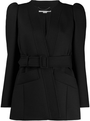 Stella McCartney Puffed-Shoulder Belted Jacket