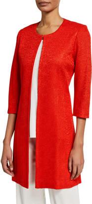 Misook 3/4-Sleeve Long Textured Jacket