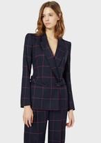 Emporio Armani Double-Breasted Blazer In Macro Check Fabric