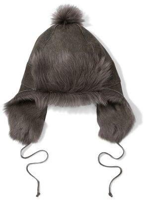 Karl Donoghue Pompom-embellished Paneled Shearling Hat