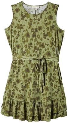 MICHAEL Michael Kors Size Mega Poppy Ruffle Dress (Light Sage) Women's Dress