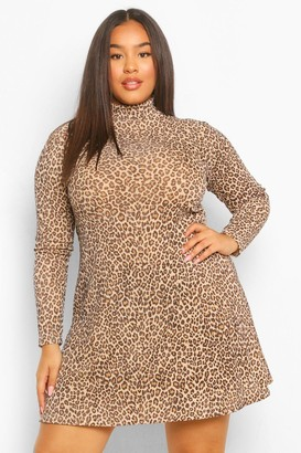boohoo Plus Rib High Neck Leopard Swing Dress