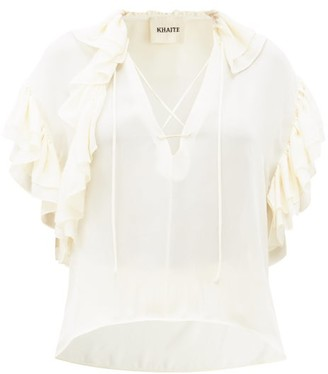 KHAITE Dee V-neck Flounced Silk-georgette Blouse - Ivory