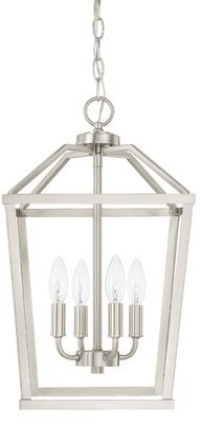Caples 4 - Light Lantern Geometric Pendant Gracie Oaks Finish: Brushed Nickel