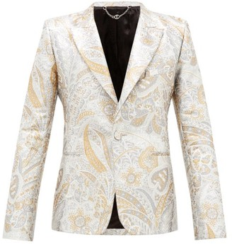 Paco Rabanne Single-breasted Paisley-brocade Suit Jacket - Silver