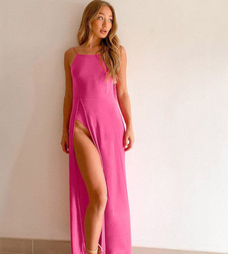 Ei8th Hour exclusive ultimate thigh split maxi dress with body in hot pink