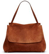 The Row Suede Top-Handle Medium Satchel Bag, Brown