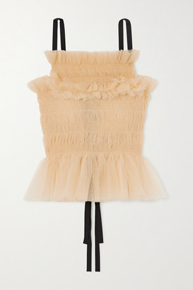 Molly Goddard Betsey Shirred Tulle Top - Cream