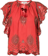 Sea embroidered and cut-out detailed blouse