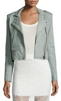 IRO Ashville Cropped Leather Jacket, Light Gray