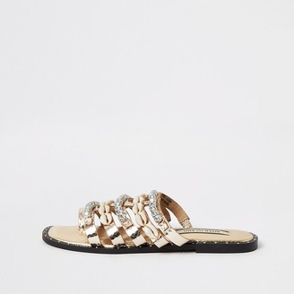 River Island Rose gold leather shell embellished sandals