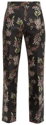 Giambattista Valli Floral Jacquard Trousers - Womens - Black Multi