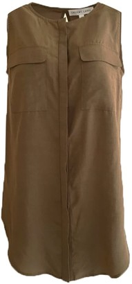 Salient Label Malv Viscose Button Down Top With Slit Back In Khaki