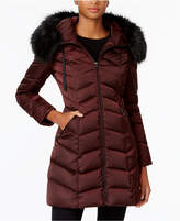T Tahari Faux-Fur-Trim Down Puffer Coat