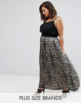 Elvi Plus Pleated Maxi Skirt In Snake Print