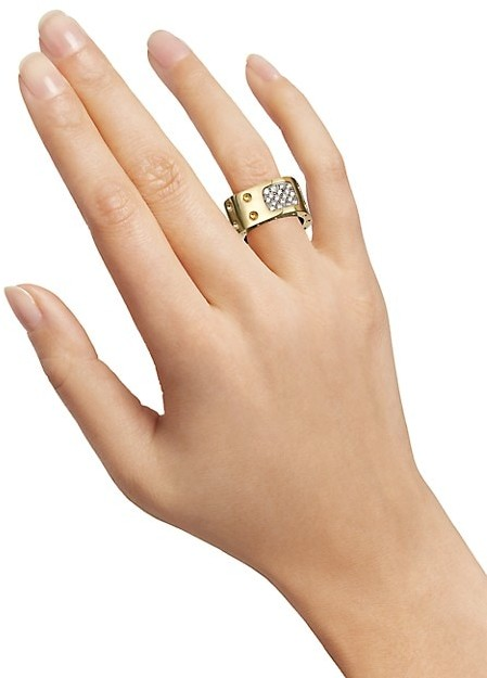 Thumbnail for your product : Roberto Coin Pois Moi Diamond & 18K Yellow Gold Two-Row Square Ring