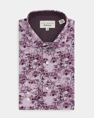 Ted Baker MEADOWE Floral checked cotton shirt