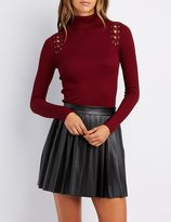 Charlotte Russe Ribbed Lace-Up Turtleneck Top