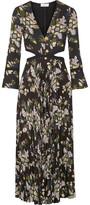 A.L.C. Josefa Cutout Pleated Printed Silk-Crepe Midi Dress