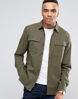 Pull&Bear Military Shirt With Double Pockets In Khaki
