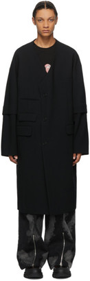 JERIH Black Wool Coat