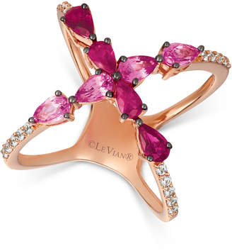 LeVian Le Vian Strawberry Layer Cake Multi-Gemstone Ring in 14k Rose Gold