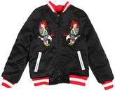 Fred Mello Eagles Embroidered Satin Bomber Jacket