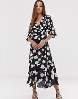 AllSaints delana caro floral print wrap maxi dress