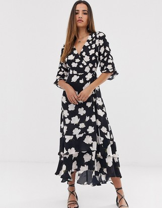 AllSaints delana caro floral print wrap maxi dress-Black